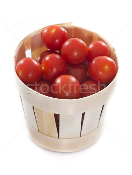 Pomidorki drewna puchar biały ogród pomidorów Zdjęcia stock © cynoclub