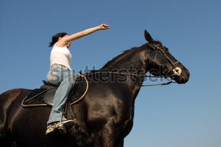 馬 若い女性 種馬 屋外 幸せ 青 ストックフォト © cynoclub