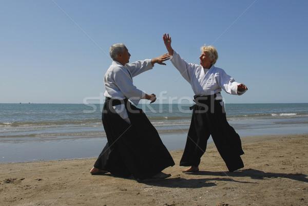 Aikido iki yetişkin yaşlılar eğitim Stok fotoğraf © cynoclub
