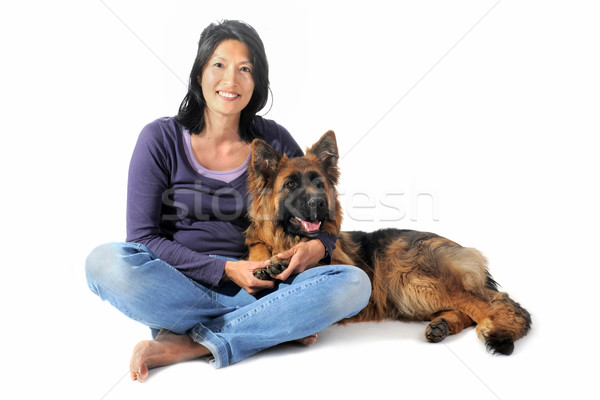 german shepherd and chinese girl Stock photo © cynoclub
