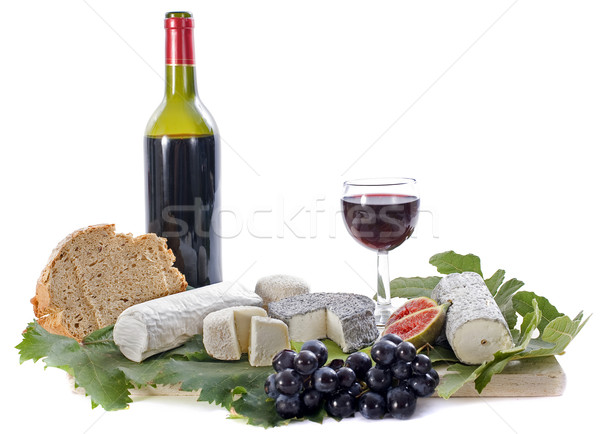 goat cheeses, fruits and wine Stock photo © cynoclub