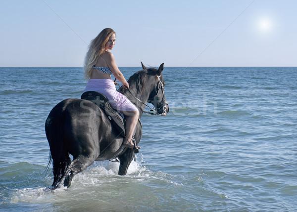 horse woman in the sea Stock photo © cynoclub