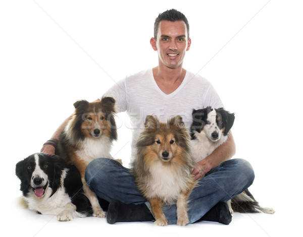 four beautiful dogs and man Stock photo © cynoclub