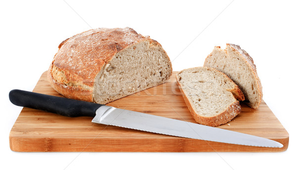 Bochenek chleba nóż biały żywności studio Zdjęcia stock © cynoclub