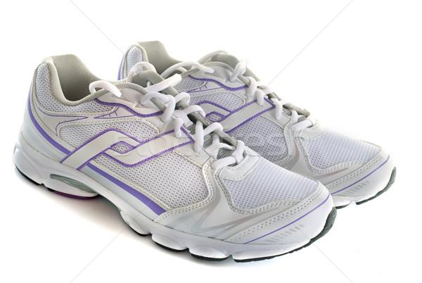 Trainers schoenen witte mode kleding studio Stockfoto © cynoclub