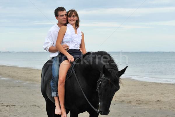 Pareja caballo playa hermosa negro semental Foto stock © cynoclub