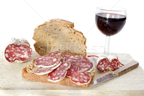 slice of saucisson Stock photo © cynoclub