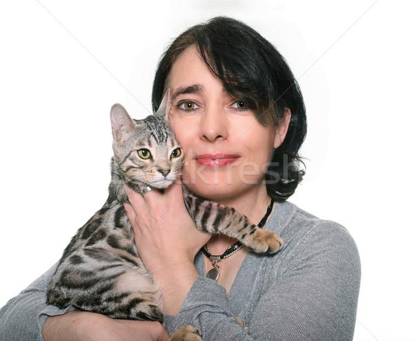 bengal kitten and woman Stock photo © cynoclub