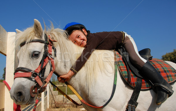 little girl and shetland pony Stock photo © cynoclub