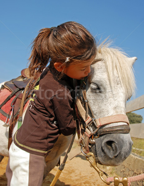 Gyermek póni kislány csók legjobb barát fehér Stock fotó © cynoclub