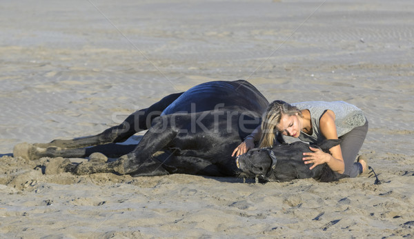 woman and horse on the beach Stock photo © cynoclub