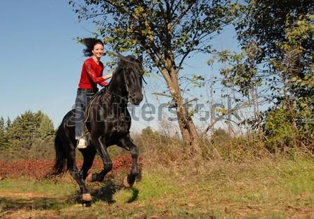 Konia młoda kobieta ogier odkryty szczęśliwy niebieski Zdjęcia stock © cynoclub