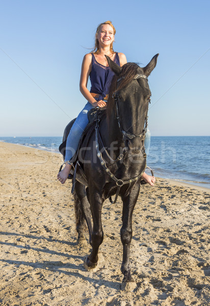 riding girl on the beach Stock photo © cynoclub