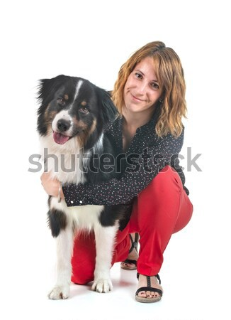 teenager and miniature schnauzer Stock photo © cynoclub