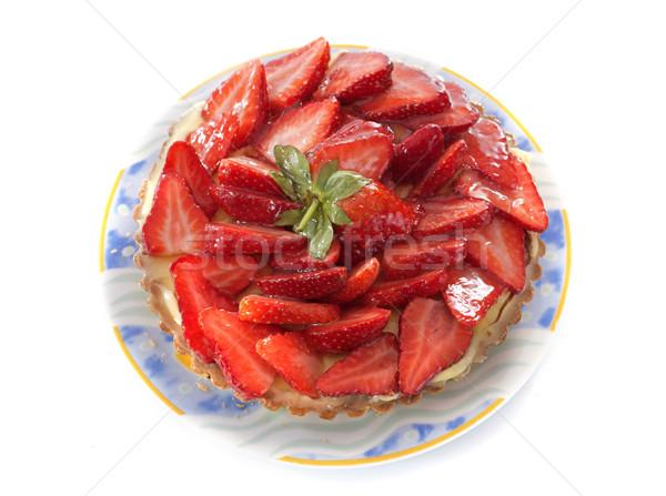 Eper torta fehér étel gyümölcs piros Stock fotó © cynoclub