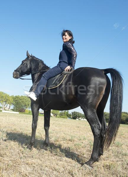 美しい ライディング 少女 美少女 黒 種馬 ストックフォト © cynoclub