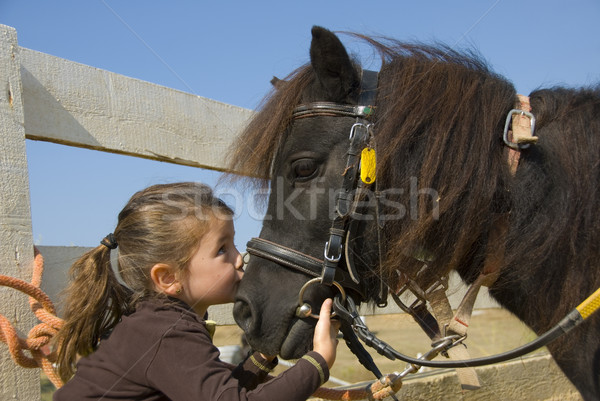 little girl and pony Stock photo © cynoclub