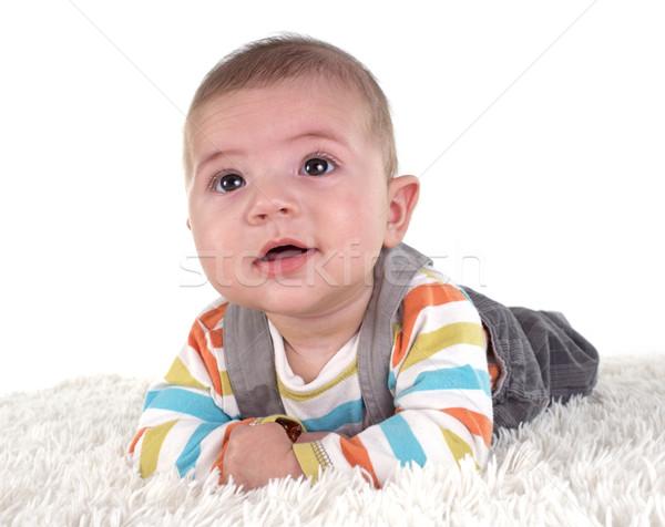Três meses bebê branco sorrir feliz Foto stock © cynoclub