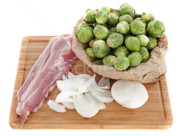 Bruselas cebolla tocino cebollas crudo blanco Foto stock © cynoclub