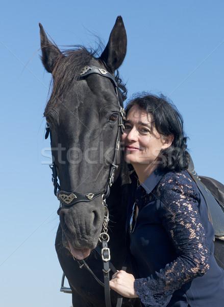 ライディング 少女 馬 黒 種馬 フィールド ストックフォト © cynoclub
