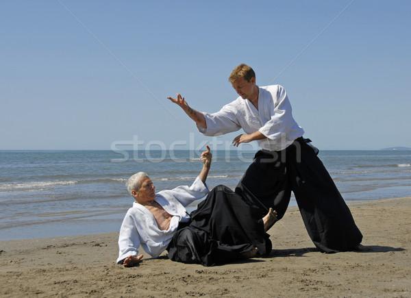 Aikido strand twee volwassenen opleiding man Stockfoto © cynoclub