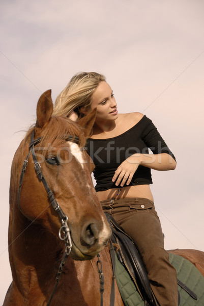 blond riding girl Stock photo © cynoclub