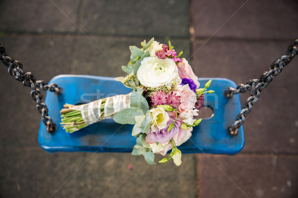 Bride bouquet on blue swing Stock photo © cypher0x