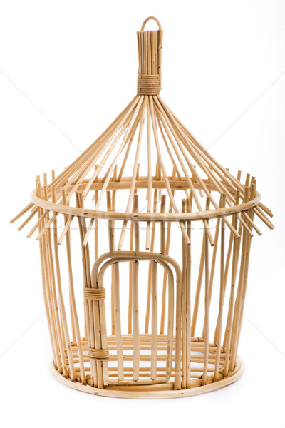 Light wooden bird cage on white background Stock photo © cypher0x