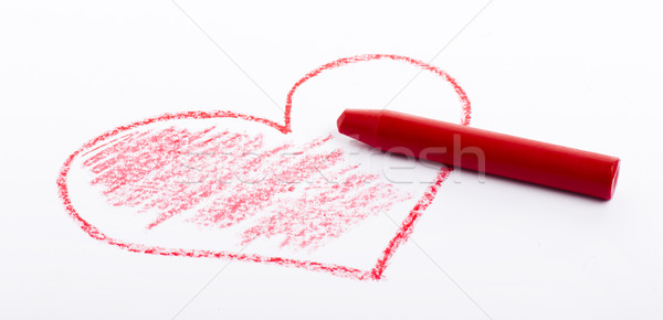 Crayon coeur rouge couleur Photo stock © cypher0x
