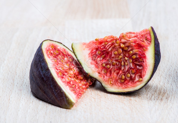 Fresh ripe figs on wood Stock photo © cypher0x