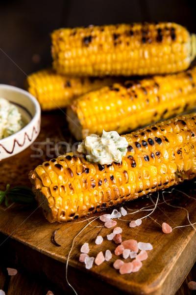 Délicieux grillés maïs alimentaire fond été Photo stock © cypher0x