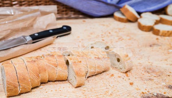 Pain la texture du bois couteau alimentaire Photo stock © cypher0x