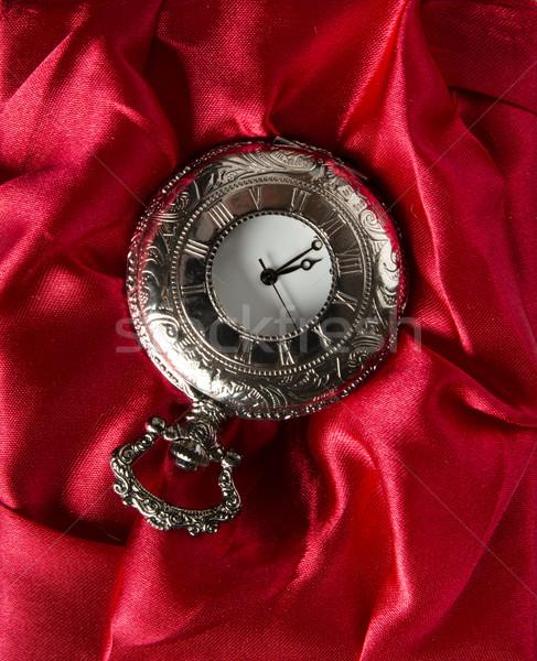 Poche gris horloge rouge soie texture Photo stock © cypher0x