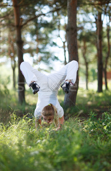 Asana pose in the forest Stock photo © d13