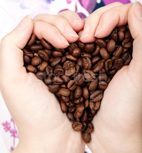 Heart coffee grains Stock photo © d13