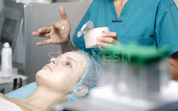 Woman being prepped in a skincare clinic Stock photo © d13
