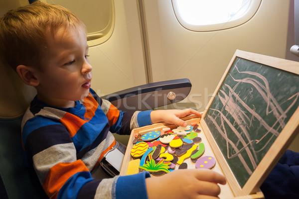 Chłopca płaszczyzny deski kreślarskiej kredy mały rysunek Zdjęcia stock © d13