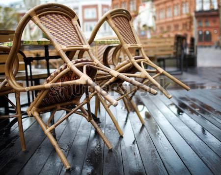 Sokak kafe Riga boş Letonya ahşap Stok fotoğraf © d13