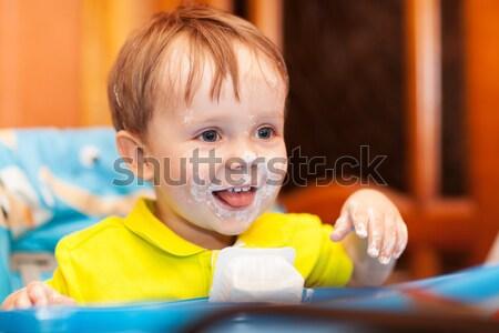Mały chłopca płacz twarz brudne Zdjęcia stock © d13