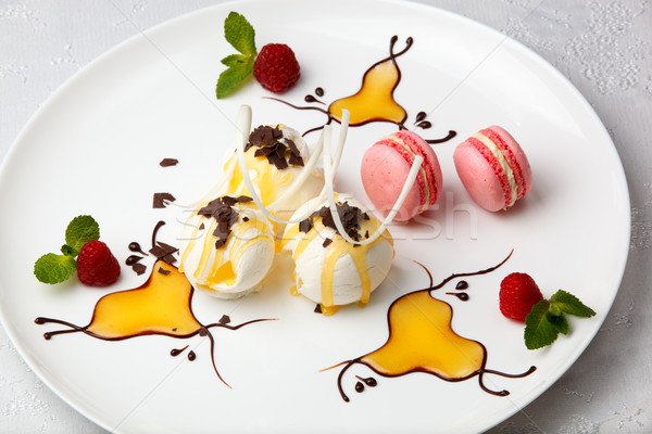 Ice cream with macaroons and berries Stock photo © d13