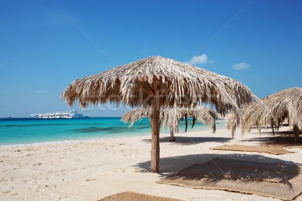 Straw beach umbrellas at a tropical resort Stock photo © d13
