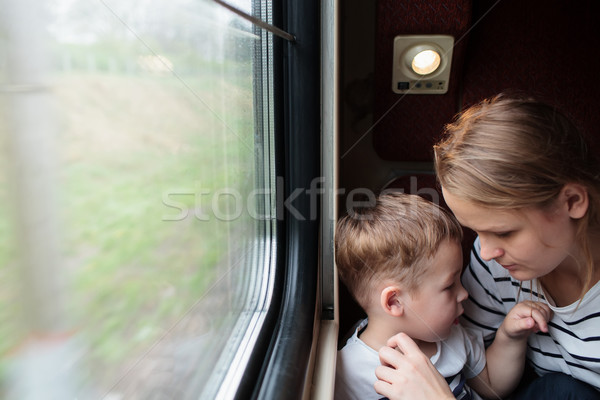 Mother and son on a train trip Stock photo © d13