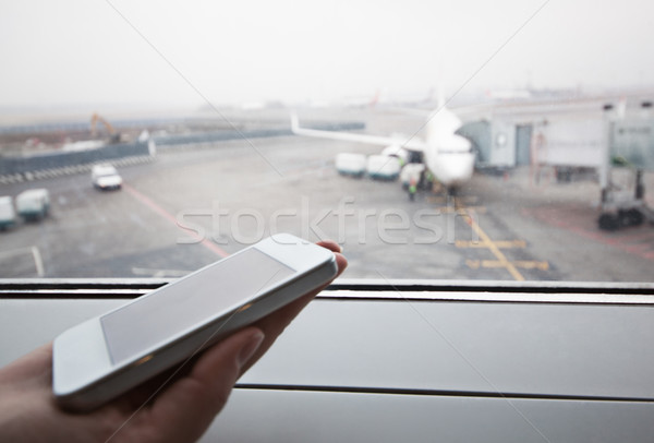 Mano ventana aeropuerto primer plano tiro Foto stock © d13