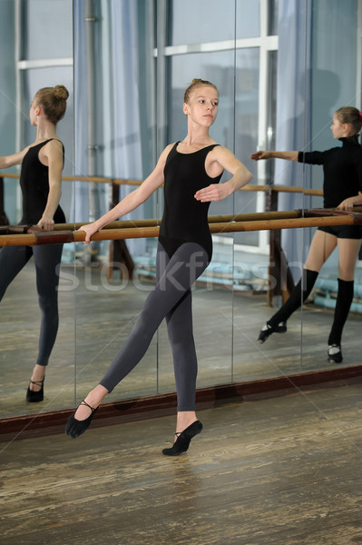 Young girls exercising during ballet class Stock photo © d13