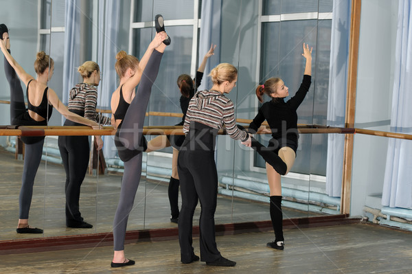 Ballet class in studio with choreographer Stock photo © d13