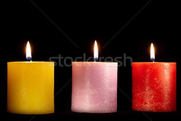 Stockfoto: Drie · kaarsen · zwarte · Geel · paars · Rood