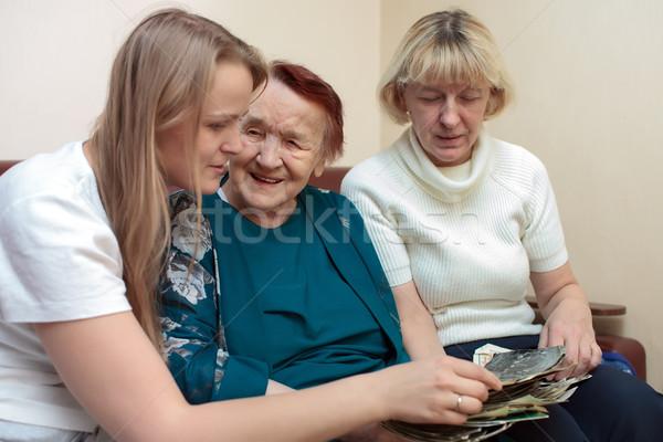 Babcia mama córka klejenie szczęśliwie starych Zdjęcia stock © d13