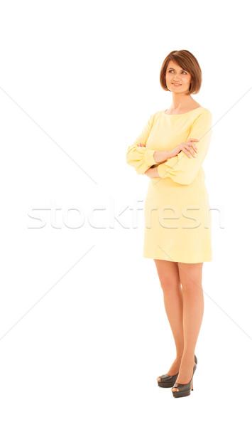 Volwassen vrouw Geel jurk geïsoleerd Stockfoto © d13