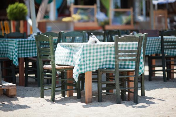 üres székek napos étterem belső udvar fából készült Stock fotó © d13