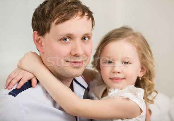 Mutlu baba küçük prenses aile portre kız Stok fotoğraf © d13
